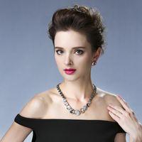 achat en gros de chine robe bijoux livraison gratuite-Collier simple bijoux boucle d'oreille ensembles de la chaîne de la clavicule qualités accessoires de mode robe pour les femmes en gros de la Chine Livraison gratuite