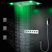 Wholesale Luxury led multi functiion shower set ceiling recessed rectangle rain shower head thermostatic waterfall shower with massage body jets
