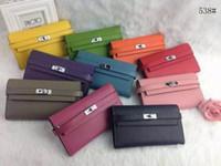 photo box - 2016 New H Famous Brand Design Wallet genuine leather purse Top Quality Clutch original cowhide money bag orange brand box