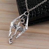 Wholesale New Dinosaur Pendant Necklace Skyrim Elder Scrolls Dragon Pendants Vintage Necklace for Men Women Jewelry Worldwide Sale