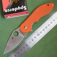 bear box camping - Spyderco C41 CTS Bearing Sanding Steel Blade Orange G10 Handle Camping Climbing Tactical Gear Knife Knives In Original Box