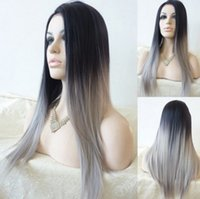 Wholesale 2016 New Women Sexy Silk Ombre Long Straight Cosplay Hair Wig Black Gray Hair Heat Resistant Synthetic Wigs