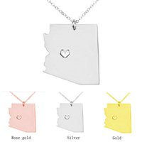 arizona necklace - 2016 Classic Boutique Unique Design Arizona State New Jersey State Pendant Necklace Stainless Steel USA Map Necklaces