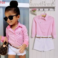 baby blouses - New Baby Kids Girls Clothes Two Piece Cute Striped Shirt Solid Shorts Outfits Set Blouse Casual Suits Kid Child Clothing Set New SV019409