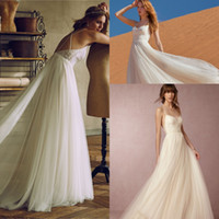 beach cross - 2017 Spaghetti Straps Beach Wedding Dresses Sexy Criss Cross Backless Lace Top Tulle A Line Long Wedding Bridal Gowns