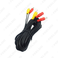av distributors - 100pcs mm mm DC adapter plug coaxial Power Distributor Cable With Backup Car Camera RCA AV Cable