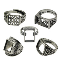 Wholesale Beadsnice Vintage Style Rings Thailand Silver Ring Setting Sterling Silver Square Ring Base Adjustable ID