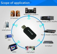 Wholesale 2 in Portable usb bluetooth Stereo Music receiver Adapter Wireless Car Audio cable AUX mm Bluetooth Receiver Dongle for speaker mp3