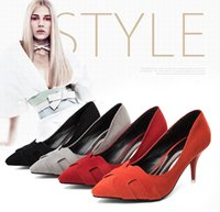 Cheap 2016 new sexy goddess style 7CM orange suede fine with shallow mouth pointed high-heeled shoes ladies shoes