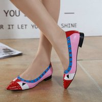 b pegs - Classic designer colorful peg black and red patchwork geniune leather woman lady slip on casual shoes FD1930