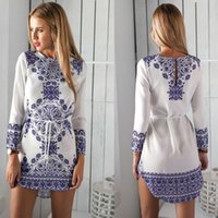 short sleeve dress - Women Casual Sexy Shirt Dress Summer Vintage White Blue Porcelain Print Short Sleeve Beach Mini Dress Vestidos de festa
