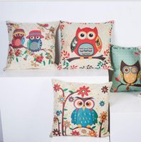 Wholesale Pillow Covers Owl Facial Expression Kawaii Bird Bedding Set Car Office Sofa Cushion cartoon print Home Decoration Pillow Case for Kids Room