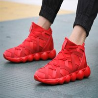 beading on fabric - Autumn Korean version of Men s shoes Men hip hop shoes high shoes Fashion casual shoes