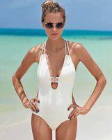 Wholesale 2016 Sexy one piece swimsuit Backless Swimwear for Women Black White cross back bodysuit Monokini Bathing suit Beachwear Bather