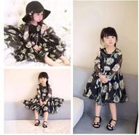 2016 Nouveaux Robes de tournesol en mousseline de soie princesse robes de mode pour enfants Daisy fleurs Robes enfants Vêtements 7PCS / Lot