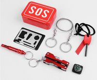 Wholesale Portable SOS Emergency Survival Kit Outdoor Equipment Self help Aid Box SOS Camping Hiking CM