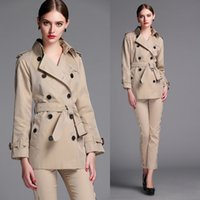 american windbreaker - 2016 Top British Trench Coat For Womens Clothes Winter Fall Cotton OL Designer Brand England Style Short Windbreaker Trench Coat XXL BC1119