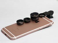 Wholesale 2016 New in Clip on Mobile Phone Camera Lens Kits Fisheye Degree Wide Angle X Macro X for iPhone Samsung HTC