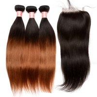 Wholesale 7A Natural Ombre Human Hair Weaves with Closure B Straight Brazilian Malaysian Human Hair Weave Two Tone Ombre Human Hair Bundles