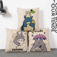 bedroom couches - Cotton linen Pillow Case Cover Square Cute totoro cartoon pattern couch Backrest Pillow case House Living room Bedroom office Sets A9428