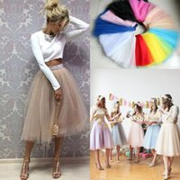 Wholesale Cheap Solid Clothes - Blush pink Pastel tulle skirt Real Picture Knee Length White Tulle Tutu Skirts For Adults Custom Made Cheap Women Clothing Tulle Skits