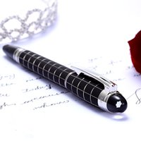 ballpoint pen ink - Black Chessboard Crystal Cap MB Metal Roller Ball Pen Writing Ink Pen Free Pen Refills
