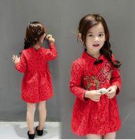 achat en gros de robes ethniques filles-Pankou 2016 Automne Filles robe rétro fleur de broderie, vêtements pour enfants ethnique