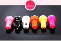 Wholesale Charger Round Mini Colorful USB Port Cigarette A Car Charger Micro Dual USB Adapter for iPhone iPad Samsung Note