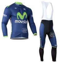 Wholesale Long Bib Movistar - Movistar Cycling Jersey 2014 !!! Winter Thermal Fleece Cycling Jersey Long Sleeve And Bib Pant Kits Movistar Team 2014 ciclismo