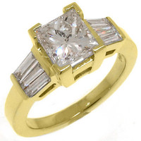 baguette engagement ring - 2 WOMENS DIAMOND ENGAGEMENT WEDDING RING PRINCESS BAGUETTE CUT YELLOW GOLD