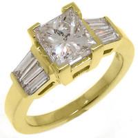 baguette diamond ring - 2 WOMENS DIAMOND ENGAGEMENT WEDDING RING PRINCESS BAGUETTE CUT YELLOW GOLD