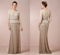 Wholesale Plus Size Lace Mother Of The Bride Dresses With Long Sleeves Floor Length Custom Made Brown Mother Bride Dresses