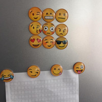 Wholesale DHL Free Newest QQ Expression Emoji Fridge Magnet Cute Cartoon Fashion Crystal Glass Fridge Magnets Funny Refrigerator Toy