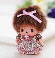 Wholesale fashion cute Luxury monchichi keychain cartoon Bowknot Crystal Rhinestone Key chain for Woman bag pendant llaveros