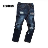 beam design - 2016 Scottish street patches pleated damage new jeans brand original design of the new knee hole beam foot jeans jogger men