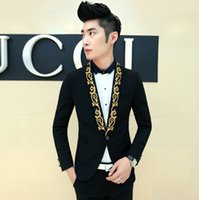 Wholesale Spring Male Outfits - 2016 spring royal embroidery male suit male white black men dress suit male vintage blazers fit prom outfit