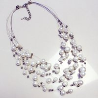 Wholesale A short section of Korean fashion accessories necklace pearl necklace exaggerated big European multi clavicle spring decorations