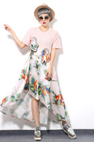 Wholesale Summer new parrot patch printing stitching silk dress put on a large black woman pink silk cotton