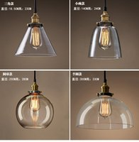 Wholesale Designer lights Loft restaurant bar Taipei Europe and the United States rural industrial wind creative single head glass pendant lamp