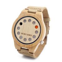 Trous bois France-12 trous marque célèbres montres en bambou de marque bracelet en cuir véritable montres en bois unisexe avec boîte cadeau montres en bois de luxe pour hommes les femmes