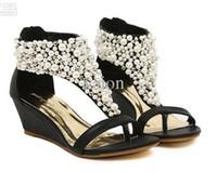 Acheter Perle chaussures de mariage à bout ouvert-perle romaine des femmes T-Strap ouvert toed Wedge Sandales chaussures de mariée de mariage Soirée Pompes LL3304