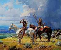 Wholesale Native American on horses HD Print Portrait landscape Wall Deco Art oil Painting On Canvas Museum Quality