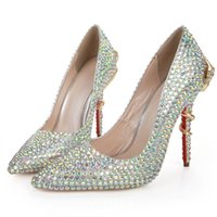 ballet shoes for weddings - 2017 Bling Crystal Wedding Shoes for Bride High Stiletto Heel Pointed Toe Silver Rhinestone Gold Snake Woman Party Bridesmaid Dress Shoes