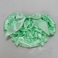 Moda Mint Baby Ruffle Bloomer Niñas Niñas Bragas Niño Toddle Satén Ruffle Bloomer Luz Verde recién nacido Pañales Venta al por mayor