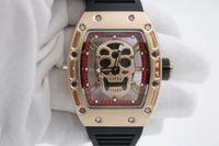 steampunk watches - New Super Cool Steampunk Fashion Watches Luxury Brand Quartz Watch Mens Limited Edition Rubber Belt Skull Watch Male Clock gold9