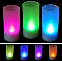 Wholesale New Flicking LED Color Change Flameless Flicking Light Candle Flicking like real candle