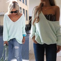 Cheap Wholesale-Womens Ladies Off The Shoulder Chunky Knitted Oversized Baggy Sweater Jumper Top size S-XL, several colors