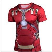 Wholesale 2015 Marvel Super Heroes Avengers Age of Ultron Captain America Batman Tights sport T shirt Men fitness clothing short sleeves