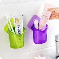 bathroom accessories purple - High quality Wall type bathroom storage rack shelf organizer Removable toothpaste toothbrush holder kitchen Bathroom Accessories