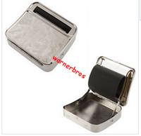 auto rolling machine - 10pcs epacket USA UK mm Silver cigarette Metal Box Automatic Cigarette Rolling Paper Machine auto cigarette roller case tin